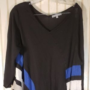 NY COLLECTION WOMEN'S TUNIC BLUE BLACK WHITE TOP